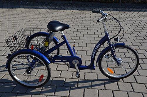 Lanztec Elektrodreirad LiIon Akku 36 V 14,0 Ah Therapie-Dreirad 7 Gang Shimano Nabenschaltung mit Rücktrittbremse blau