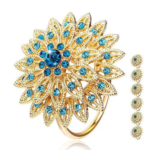 Tayis 6 Stück Gold Serviettenringe Servietten Halter Banquet Serviette Ring Dinner Hochzeits Weihnachten Dekoration Tischdeko (Blau)