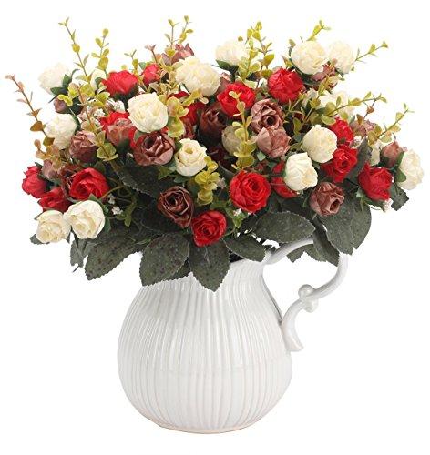 Amkun Künstliche Blumen mit künstlichen Rosen, 7 Stiele, 21 Blüten, Seidenblumen, toll als Deko für Zuhause, Hochzeiten, Party, Dekoration,2 Stück Red Coffee