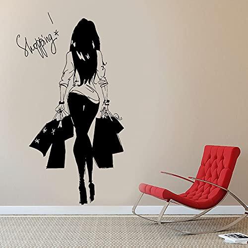 DIY etiqueta de la pared moda mujeres jóvenes bolsas de compras tienda de ropa vinilo pegatinas de pared pegatinas de pared tienda de ropa compras sexy niñas dormitorio decoración 42x75cm