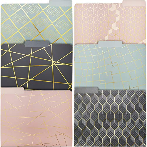 Geometric Gold Foil Decorative File Folders (6 Designs, 12 Pack)