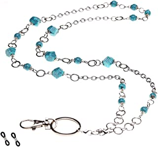 """Purida Beaded Lanyards for Women, Beaded Eyeglass Chain, 34"""" Stainless Steel Chain Length, Multi-Function Usage"""