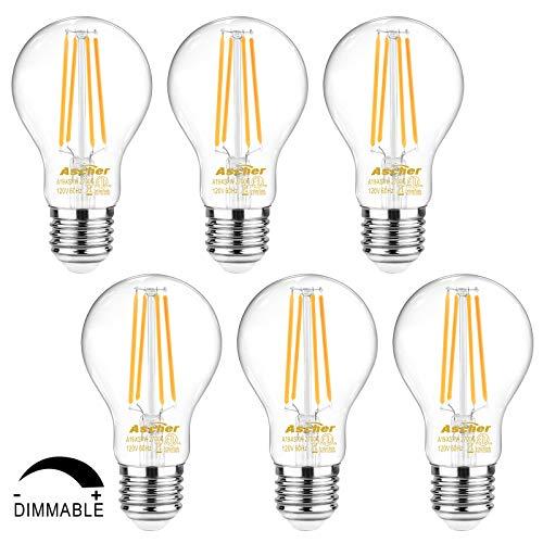 Ascher 60 Watt Equivalent, Dimmable E26 LED Filament Light Bulbs, Warm White 2700K, Classic Clear Glass, A19 LED Light Bulb, 6-Pack