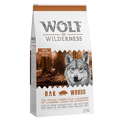 Wolf of Wilderness Trockenfutter für ausgewachsene Hunde, Eichenholz, mit frischem Huhn und Wildschwein (12 kg)