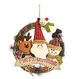 Uemaker - Colgante de ratán con forma de árbol de Navidad, falda de Papá Noel, muñeco de nieve, elk de ratán, guirnalda decorativa