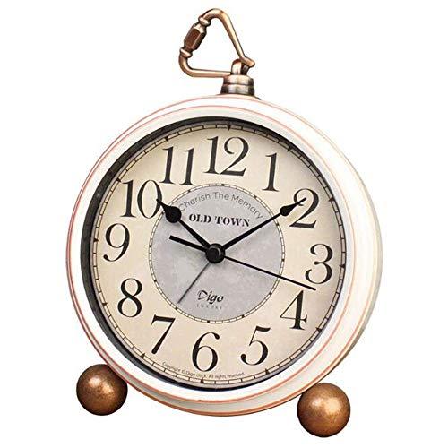 Attoe Weiß Tisch Uhr, Vintage Nicht Tisch Schreibtisch Wecker mit Lautem Alarm,Kein Ticken,Geräuschlos,Batteriebetrieben Quarzwerk, HD Glas für Schlafzimmer/Wohnzimmer/Kinder (Araber)