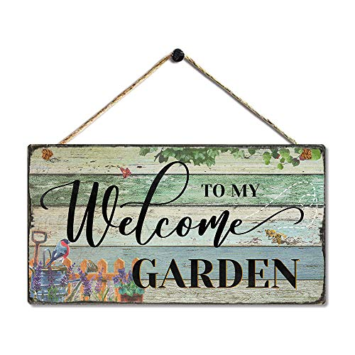 SAC SMARTEN ARTS Garden Retro Vintage Wood Garden Signs Decorative Outdoor Flower Home Signs Wall Decor - Welcome to My Garden - Lovely Motivational Quote Home Accessory Sign by 11.5'x6'
