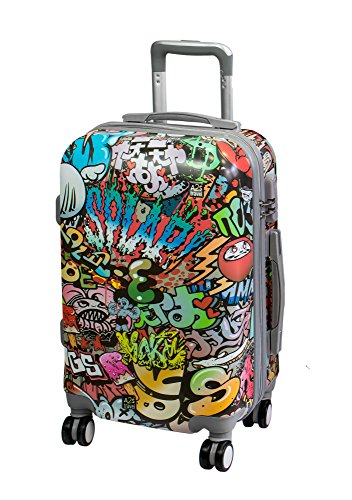 A2s Equipaje cabina maleta ligera y duradera maleta de cáscara dura con 8 ruedas giratorias llevar bolso (aviones) Graffiti 55x35x20cm