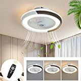 Ventilador de Techo Moderno Con Iluminación LED, Regulable Con Control Remoto Ventilador Silencioso Ventiladores de Techo Invisibles Creativos Para Sala de Estar Dormitorio Lámpara de Techo 46W-50CM