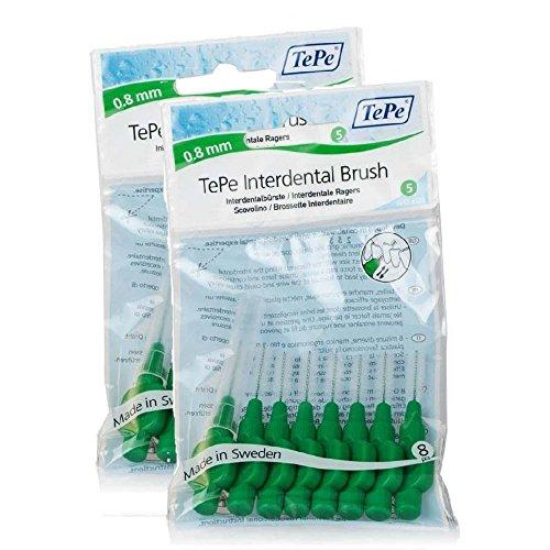 TePe Interdentalbürsten 0,8mm grün 8 Stück Packung, 2er Pack (2x 8 Bürstchen)