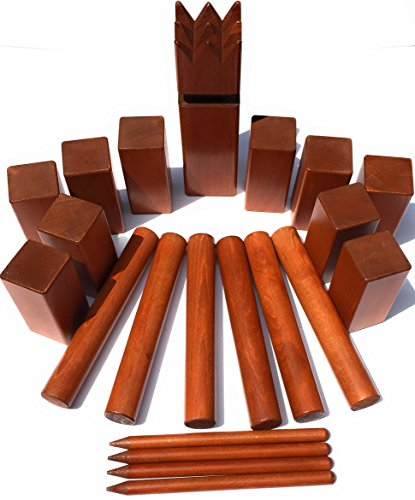 Kubbspel Classic Kubb Game Set Official U.S. Tournament Regulation Size Premium Dark Finish Hardwood (Made in Italy) 19.8 lbs.