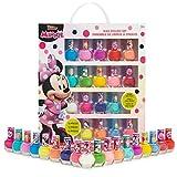 Disney Minnie Mouse Set Esmalte Uñas para Niñas, Kit de Uñas Infantil, 18 Pintauñas Niñas Lavable con Agua, Niñas 3+