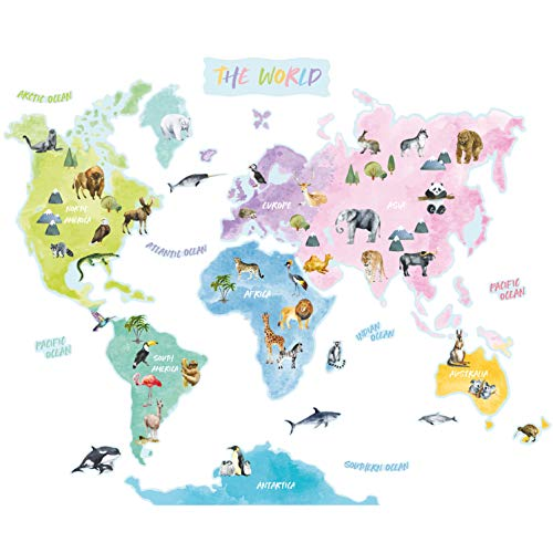 Birdie Birdie Weltkarte Wandtattoo für Kinder | Wandsticker für Kinderzimmer und Spielzimmer | Tiere als Wanddeko zum Kleben | ablösbare Wandaufkleber (Extra Groß) (Englisch Ver.)