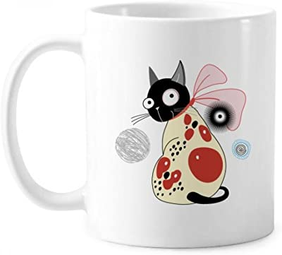 ハンドルは350 mlと動物のペットの恋人の漫画のかわいいリボン猫のマグの白い陶器のセラミックカップギフトミルクコーヒーを保護する
