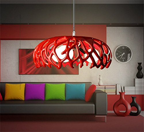 Homelike light Lampadario a sospensione dal design minimalista, di moda e creativo, per soggiorno, camera da letto, colore: rosso, 3x E27, diametro 42cm