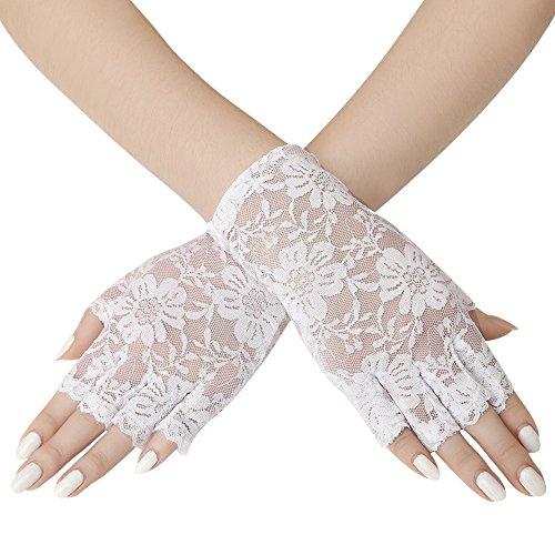 ArtiDeco Damen Lace Handschuhe Satin Braut Hochzeit Opera Fest Party Handschuhe 1920s Handschuhe Damen Kostüm Accessoires (Kurz Fingerlos Weiß)