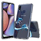 Bpowe Galaxy A10S Case, Clear Dolphin Pattern Design Hard PC Back Shockproof Case with Slim TPU Bumper Protective Cover Cases for Samsung Galaxy A10S (Dolphin)