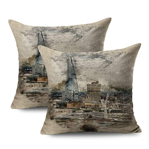FUEWU Set of 2 Linen Throw Pillow Cover Square 16x16 Inches Artistic Watercolor Painting London City Aerial View Architecture Bank Rich Banking Brushstrokes Pillowcase Home Decor Cushion Pillow Case