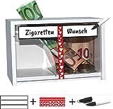 jaggson Nichtraucher-Kasse Spardose  Wunsch für Zigaretten-Geld  Selber Beschriften