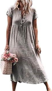 aad97051bfa Robe Été Femme de Plage Rétro Robes Col V Lin Robes au Genou Manches Courte  Unie