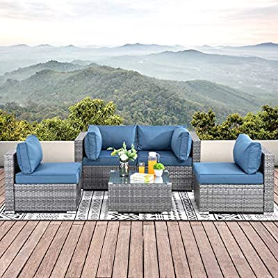 Walsunny 5pcs Patio Outdoor Furniture Sets,Low Back All-Weather Rattan Sectional Sofa with Tea Table&Washable Couch Cushions