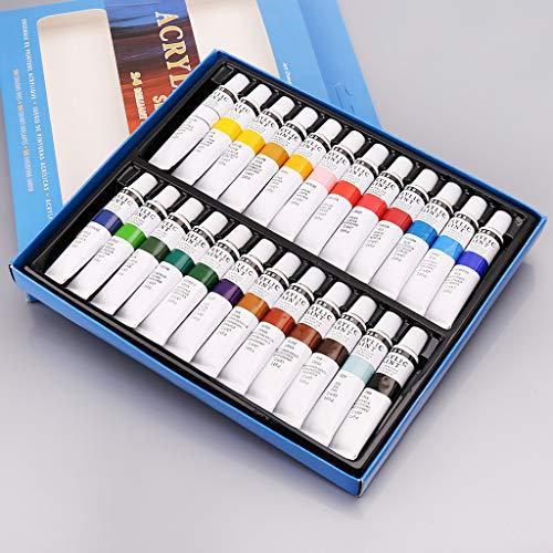 Yinuneronsty 24 Farben Acrylfarben Set 12ml Tuben Zeichnung Malerei Pigment Handgemalte Wandfarbe Für Künstler DIY