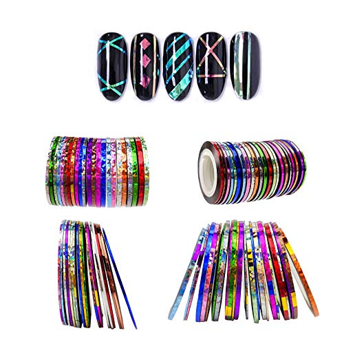 Ealicere 42 Farbe Nail Art Striping Tape Lines Kit,mehrfarbige Rollen Striping Tape Line Matte Texture Klebestift Mermaid Candy Color Striping Tape Line für Nail Art