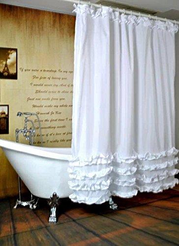 Sun&Home 3D digitale drukdouchegordijn waterafstotend antibacterieel en schimmelwerend wasbaar badgordijn 12 haken (wit douchegordijn) 180x200cm