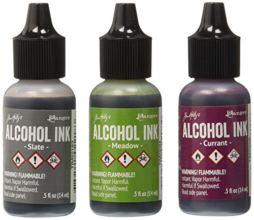 Ranger Adirondack Alcohol Ink 1/2-Ounce 3/Pkg, Cottage Path, Slate/Currant/Meadow