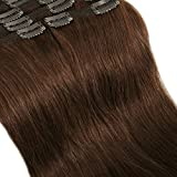 Extension a Clip Cheveux Naturel MAXI VOLUME Rajout 8 Bandes - Double Weft Clip in Remy Human Hair Extensions (#04 Marron chocolat, 40cm-130g)