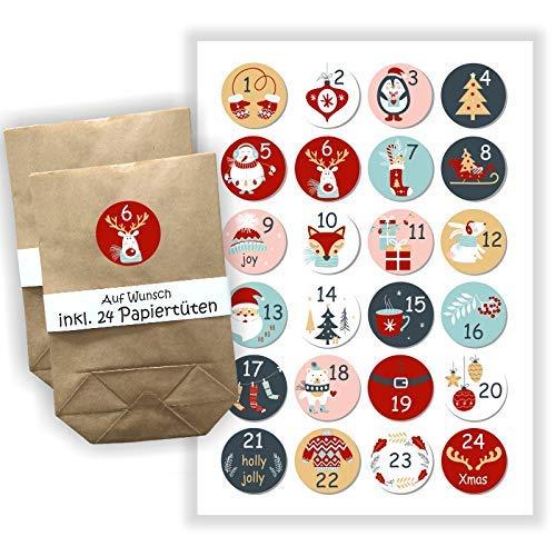 Adventskalender zum selbst Befüllen - 24 Aufkleber + Papiertüten - Beutel - DIY - selber basteln