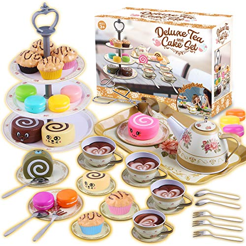 Cheffun Tea Set for Little Girls - Tea Party Pretend Play Kitchen Set Sweet Princess Accessories Plastic Tea Cups Dishes Play Food Macaroons Cake Set Stands Play Set for Toddlers Kids Ages 3 4 5 6 7+