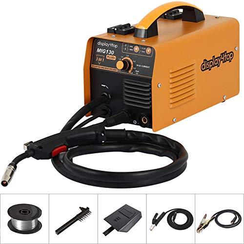 Display4top MIG130 Plus+ Profi Elektroden Schweißmaschine, ein wechselrchter - Mig Mag/MMA Schweißgerät,das zum schweißen von Kohlenstoffstahl, Aluminium, Edelstahl usw. geeignet ist