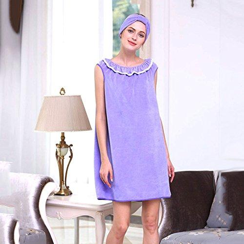 Bluelover Br-957 Capable Porter Spa Microfibre Soft Peignoir Femmes Jupe Bain Serviette avec Bouchon De Bain - Violet
