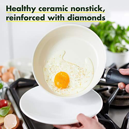 "GreenPan Rio Healthy Ceramic Nonstick, Frypan Set, 8"" and 10"", Black"