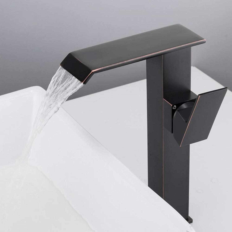 Mzdpp Neue Badezimmer Becken Wasserhahn Deck Montiert Wasserfall Heien Und Kalten Wasser Waschbecken Mischbatterie Einhebel Schwarz Mischbatterie