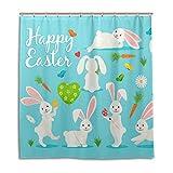 MyDaily Bunny Kaninchen Karotte Blume Happy Ostern Duschvorhang 182,9 x 182,9 cm, schimmelresistent und wasserfest Polyester Dekoration Badezimmer Vorhang