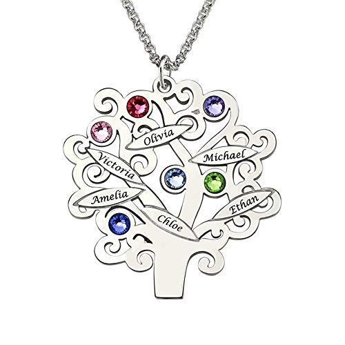 Namenskette Familie Lebensbaum mit Gravur 1 bis 6 Namen und Geburtsstein Personalisiert für Mütter Mama Oma in 925 Sterling Silber Rose Gold