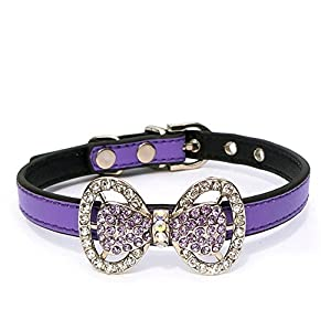 PETFAVORITES Leather Rhinestone Bow Tie Pet Cat Dog Collar Necklace Jewelry for Small Dogs Girl Kitten Puppy Teacup Chihuahua Yorkie Clothes Costume Outfits (6.7 to 8.7-Inch, Purple)
