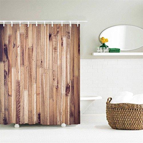 AI XIN SHOP Badezimmer- 3D Hölzerne Tür Premium Wasserdichte Mehltau-widerstandsfähige Anti-Bakterien-Polyester-Bad-Duschvorhänge, Haken enthalten (größe : 2 * 2m)