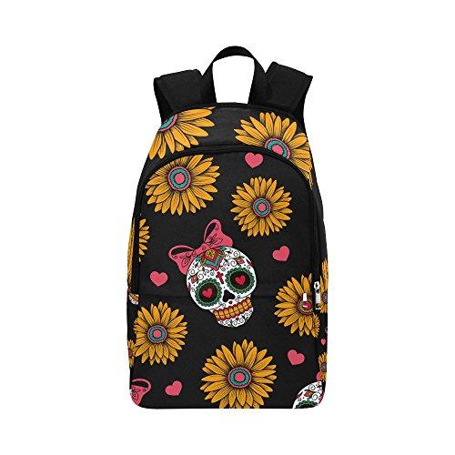 Mexican Skull Sunflower Custom Casual Backpack School Bag Travel Daypack