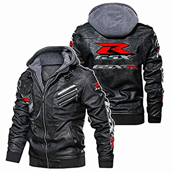 Martin Faux Leather Bomber Jacket for G.S.X-R Moto Printed with Removable Hood Windbreaker Racing Coats Outdoor/B/XL