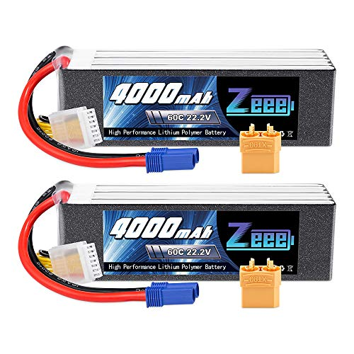 Zeee 22.2V 60C 4000mAh 6S Lipo Battery with EC5 and XT90 Plug for RC Airplane Helicopter RC Car Truck Tank Drone Racing Hobby(2 Pack)