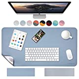 Weelth Multifunctional Office Desk Pad, Waterproof Desk Pad Protector PU Leather Dual-Sided Desk Writing Pad for Office/Home (Light Blue/Sliver, 23.6' x 13.7')