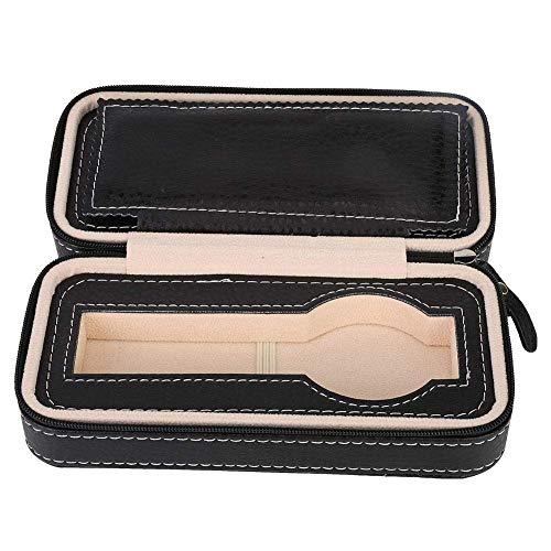 Caja de almacenamiento de reloj negra, caja organizadora de reloj de 2 rejillas, portátil para organización de joyas para hombres, almacenamiento de relojes de negocios en el hogar