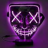 WUJUN Glühende Halloween Maske Lustige Grimasse Cosplay Party Karneval LED Beleuchtung Halloween Masken Draht Licht Dekoration(lila)