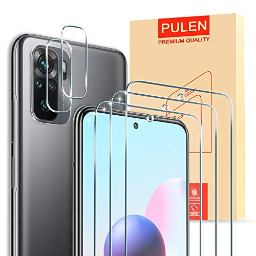 PULEN [3 Stück ] Panzerglas und [2 Stück] Kamera Panzerglas für Xiaomi Redmi Note 10/Xiaomi Redmi Note 10S [9H Härte][Anti-Kratzen] [Anti-Bubble][HD] Klar folie