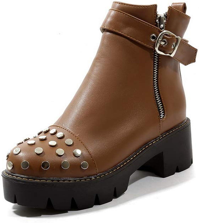 AN Womens Chunky Heels Platform Metal Buckles Urethane Boots DKU02440