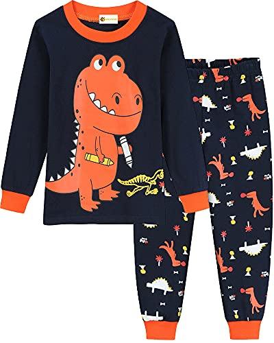 MOLYHUA Weihnachten Jungen Schlafanzug Dinosaurier Langarm Zweiteilig Pyjama Set Kinder Baumwolle Nachtwäsche, 03 Dinosaurier (Orange), 110