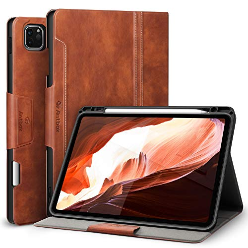 Antbox iPad Pro 11 Case 2020&2018 Universal design [Support 2nd Gen Apple Pencil Wireless Charging] with Built-in Apple Pencil Holder High-Grade PU Leather Cover for iPad Pro 11' (Brown)
